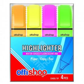 Textmarker fluorescent, 4 culori/blister, 1-5 mm - OFFISHOP