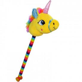 Unicorn de calarit, cu tija + rotile, cu sunet, mov/albastru/roz/galben, 80 cm