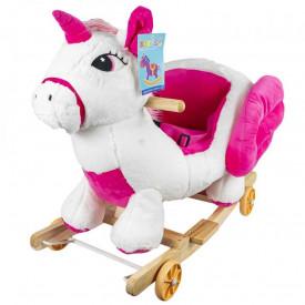 Balansoar pentru bebelusi, Unicorn, lemn + plus, cu rotile
