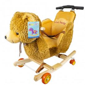 Balansoar pentru bebelusi, Ursulet, lemn + plus, cu rotile