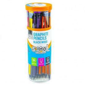 Creion grafit HB, cu radiera, hexagonal/lemn negru, 48 buc/cutie - S-COOL