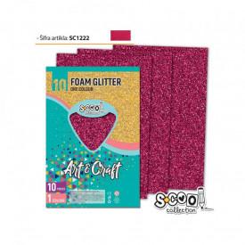 Hartie buretata, glitter, rubiniu, 10 buc/set, 20x30 cm - S-COOL