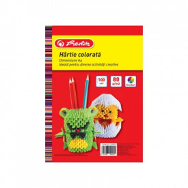 Hartie color A4, 100 coli, 80g/m2, 10 culori - HERLITZ
