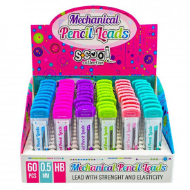 Mine creion mecanic 0.5mm, HB, culori pale, 60 buc/cutie - S-COOL