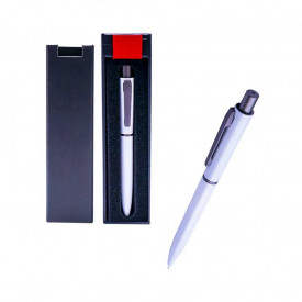 Pix metal alb in cutie cadou, cu mecanism, mina albastra - OFFISHOP