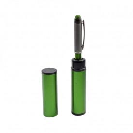 Pix metal in tub metalic verde, cu mecanism, mina albastra - OFFISHOP