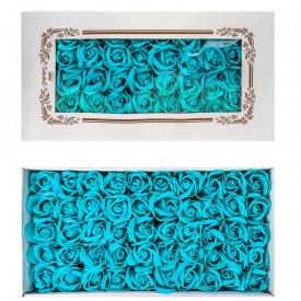 Trandafiri decorativi, din sapun, 50 buc/set - AZURIU