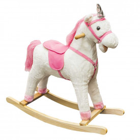 Unicorn balansoar, lemn + plus, roz, 78x28x68 cm