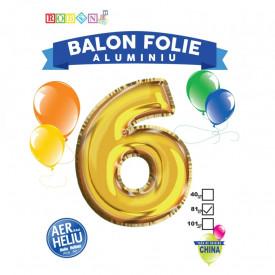 Balon, folie aluminiu, auriu, cifra 6, 81 cm
