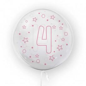Balon transparent, 45 cm - cifra 4, fete - TUBAN