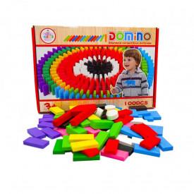 Domino din lemn colorat, 100 pcs/cutie