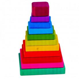 Joc piramida patrat, din lemn
