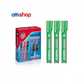 Marker permanent, rotund, verde, 12 buc/set - OFFISHOP