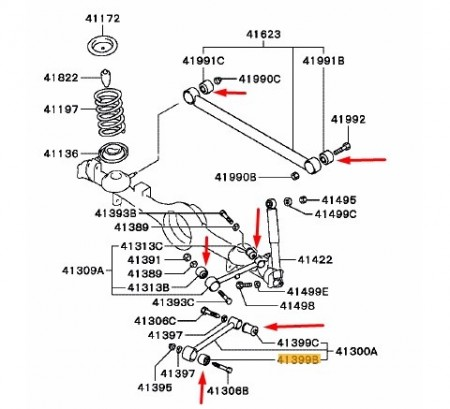 Kit brate suspensie spate Mitsubishi Pajero Pinin 1996 - 2007