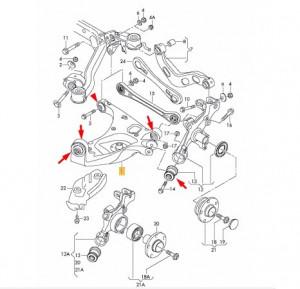 Kit reparatie bascula inferioara spate Audi A6 (4F2, C6) 2004 - 2011