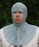 Chain mail coif, zinc-plated