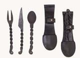Conjunto de colher, garfo e faca em aço forjado à mão. [CB1901010103]