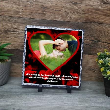 Piatra ardezie personalizata cu o poza si text -Inima-