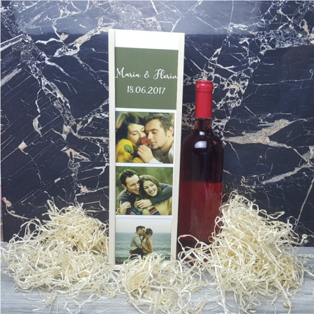 Cutie de vin personalizata cu 3 poze si text