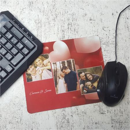 Mouse pad personalizat cu 3 poze si text