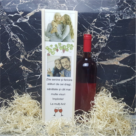 Cutie de vin personalizata cu 2 poze si text M2
