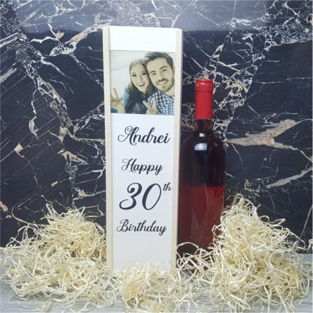 Cutie de vin personalizata cu poza si nume