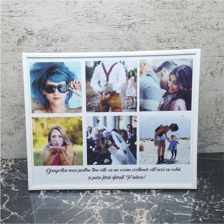 Rama foto personalizata cu 6 poze si text24x30