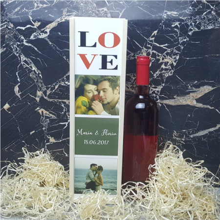 Cutie de vin personalizata cu 2 poze si text