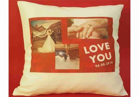 Perna personalizata cu 3 poze Love you
