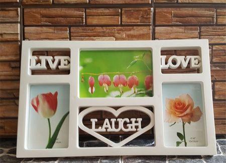 Rama foto Live Laugh Love cu 3 poze