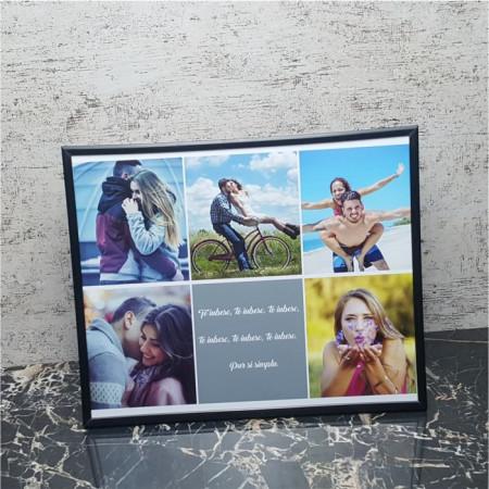 Rama foto personalizata cu 5 poze si text 24X30