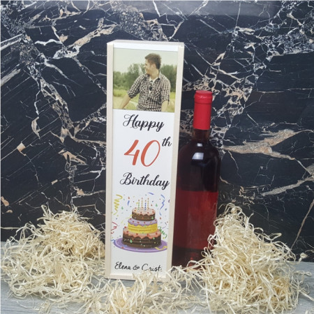 Cutie de vin personalizat cu poza si varsta
