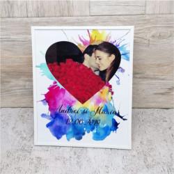 Rama foto personalizată cu o poza și text -inimă colorată-24x30