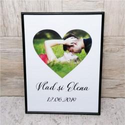 Tablou personalizat cu o poză și text -Inimă-