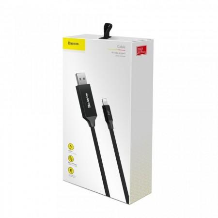 Cablu de date si incarcare Lightning , Baseus Artistic , 5M Quick Charge 3.0 QC 3.0 , negru