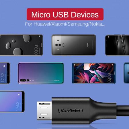 Cablu micro USB UGREEN QC 3.0 2.4A 0.25m (negru)