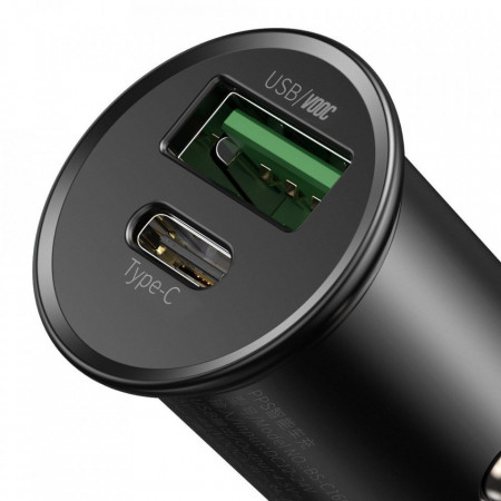 Incarcator auto Baseus PPSUSB / USB Typ C Quick Charge 4.0 QC4+ Power Delivery 3.0 VOOC SCP AFC MTKPE negru (CCYS-C01)