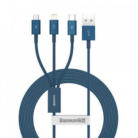 Cablu Baseus Superior Cable USB - Lightning / micro USB / USB Type 3,5 A 1,5m Blue (CAMLTYS-03)