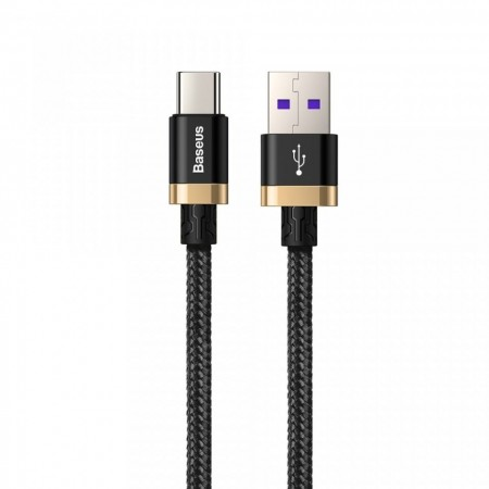 Cablu de date USB-C, Baseus Purple Gold Red, SuperCharge 40W, Quick Charge 3.0, 2 M, negru