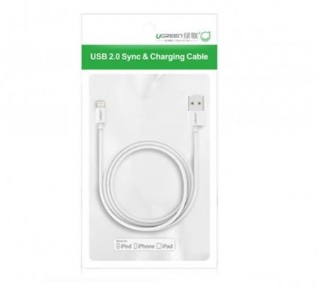 Cablu Lightning placat cu nichel UGREEN MFi 0,5m (alb)