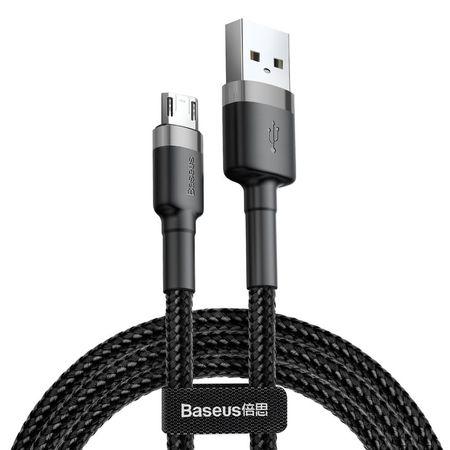Cablu micro USB QC3.0 2.4A 1M, BASEUS Cafule Durable Nylon, negru + gri