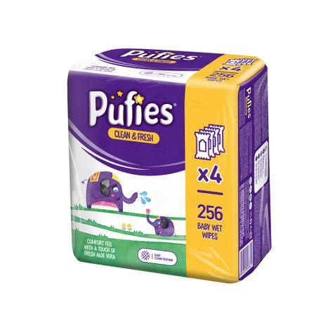 Pachet Pufies 3+1 gratis, Servetele umede cu Aloe Vera 4x 64 buc