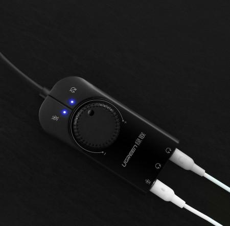 Adaptor Ugreen USB extern cu placa audio de sunet de 3,5 jack 1m + control de volum
