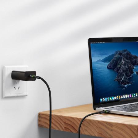 Cablu de date Baseus Halo USB Typ C PD Power Delivery 2.0 60W 20V 3A LED light 2m black (CATGH-K01)