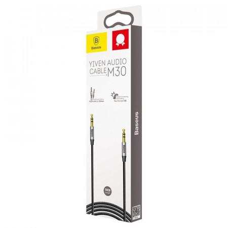 Cablu mini jack audio 3.5 mm AUX Baseus Yiven 1.5m , negru + argintiu