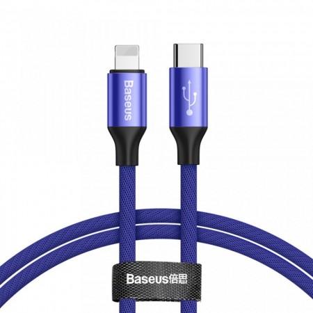 Cablu pentru incarcare Lightning, Baseus Yiven, USB C -Lightning, 2 m, Albastru
