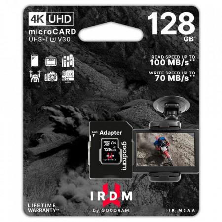 Card de memorie Goodram Microcard 128 GB micro SDHC SDXC UHS-I U3 V30 memory card SD adapter black (IR-M3AA-1280R12)