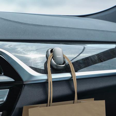 Carlig auto cu banda adeziva, Baseus Beetle (gri închis)