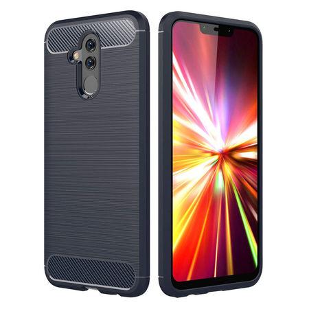 Husa telefon TPU model carbon , Gema Mixt pentru Huawei Mate 20 Lite , albastru