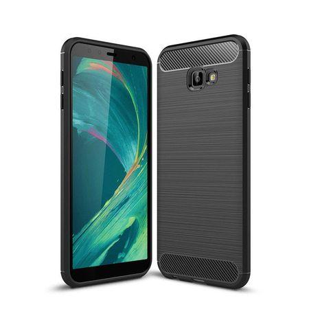 Husa telefon TPU model carbon , Gema Mixt pentru Samsung Galaxy J4 Plus 2018 J415 , neagra